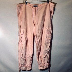 Juicy Couture 100% linen pink cropped pants